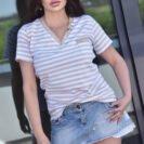 2075-SBG Bezowa w pasy bluzka Carmen (1)
