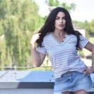 2075-SBG Bezowa w pasy bluzka Carmen (4)